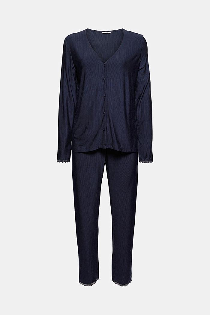 Gestreifter Jersey-Pyjama, LENZING™ ECOVERO™