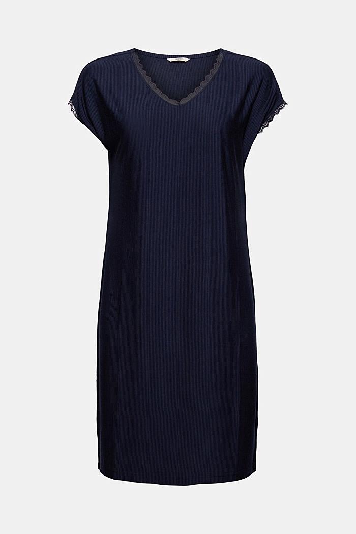 Chemise de nuit à dentelle, LENZING™ ECOVERO™, NAVY, detail image number 6
