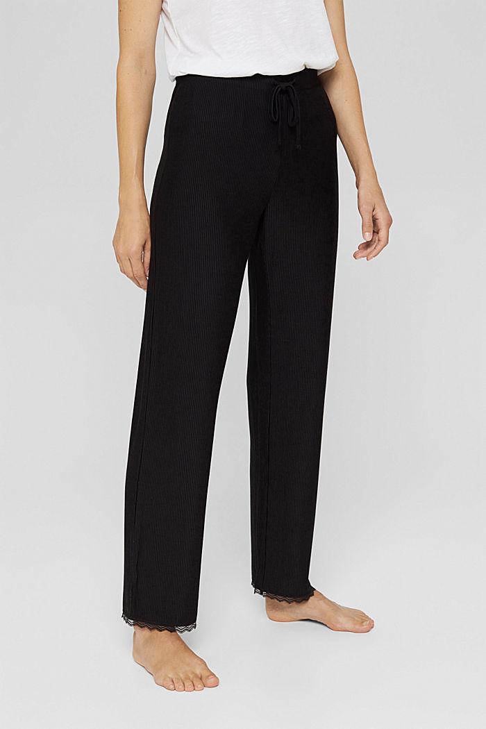 Pyjama bottoms with lace, LENZING™ ECOVERO™, BLACK, detail image number 0