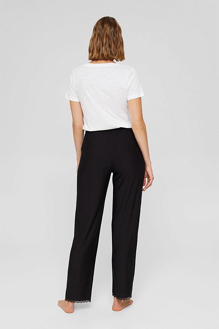 Pyjama bottoms with lace, LENZING™ ECOVERO™, BLACK, detail image number 3