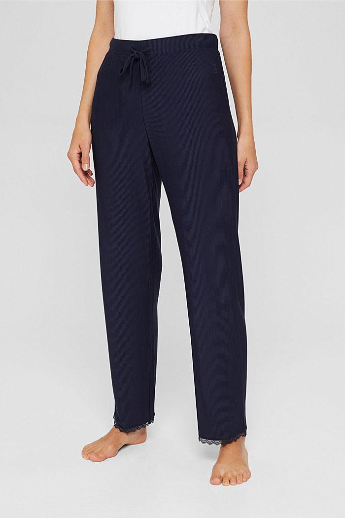 Pantaloni da pigiama con pizzo, LENZING™ ECOVERO™, NAVY, detail image number 0