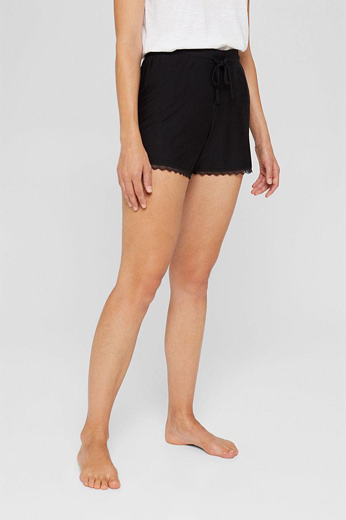 Pyjama shorts with lace, LENZING™ ECOVERO™, BLACK, detail image number 0