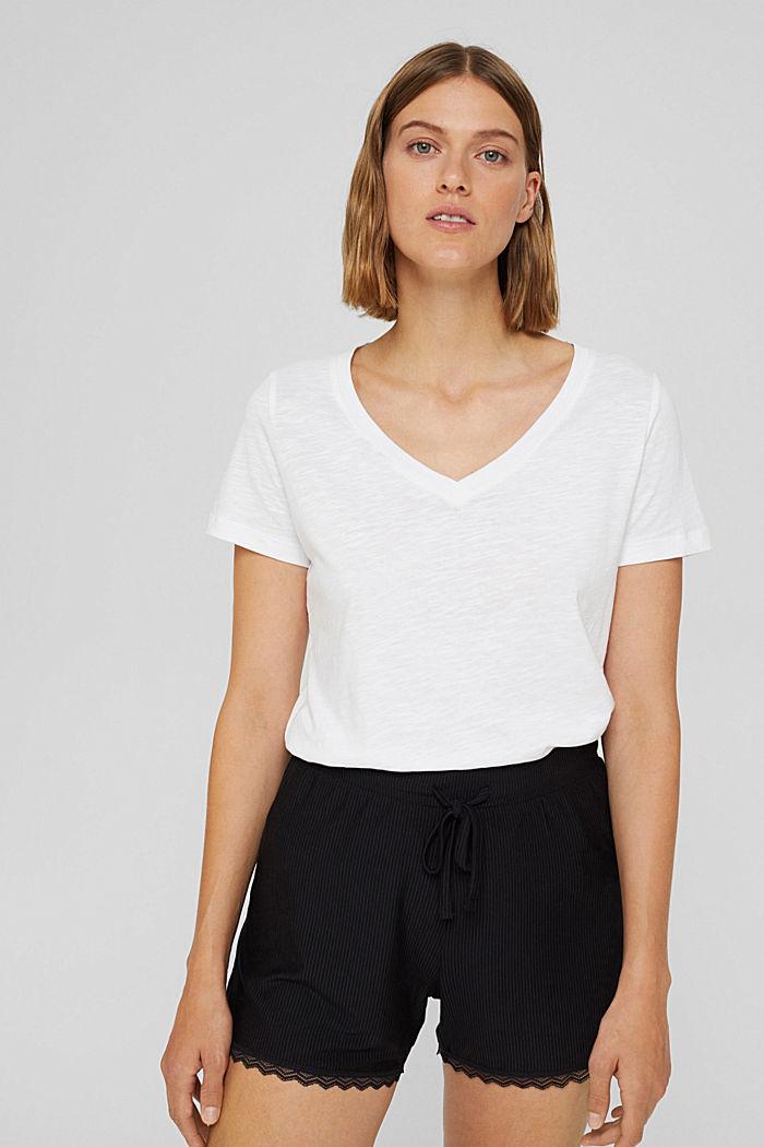 Pyjama shorts with lace, LENZING™ ECOVERO™, BLACK, detail image number 5