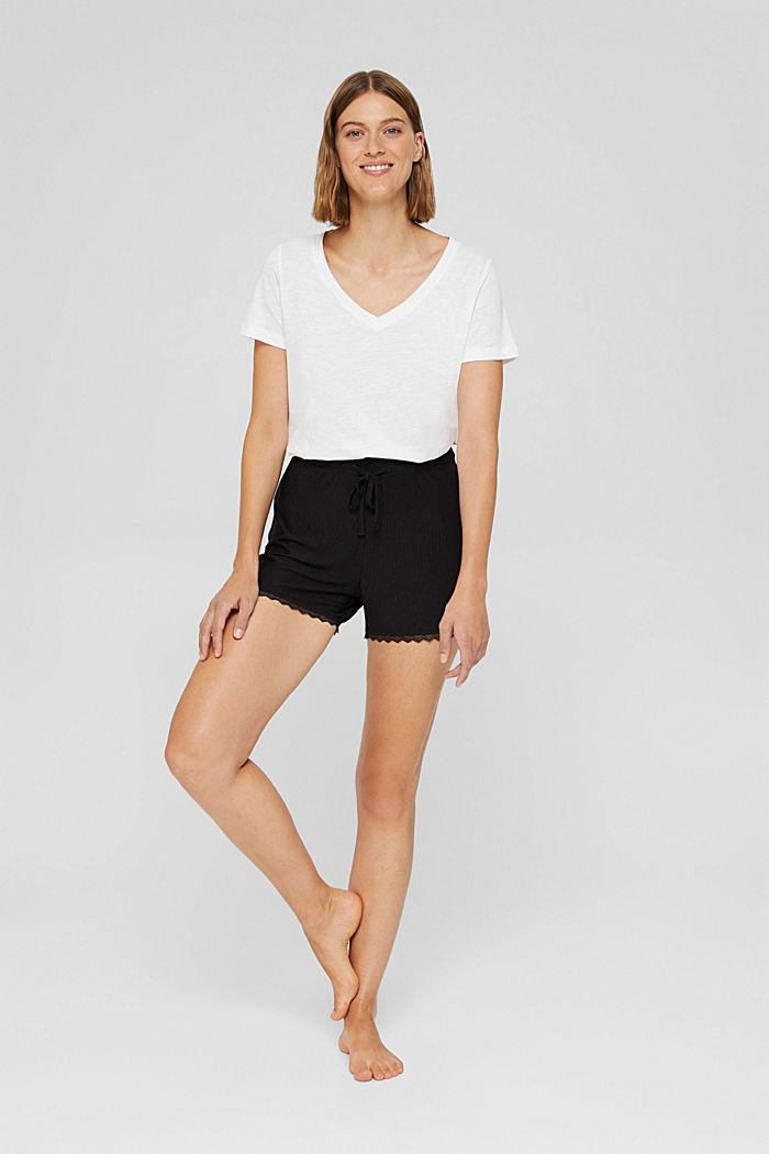 Pyjama-Shorts mit Spitze, LENZING™ ECOVERO™