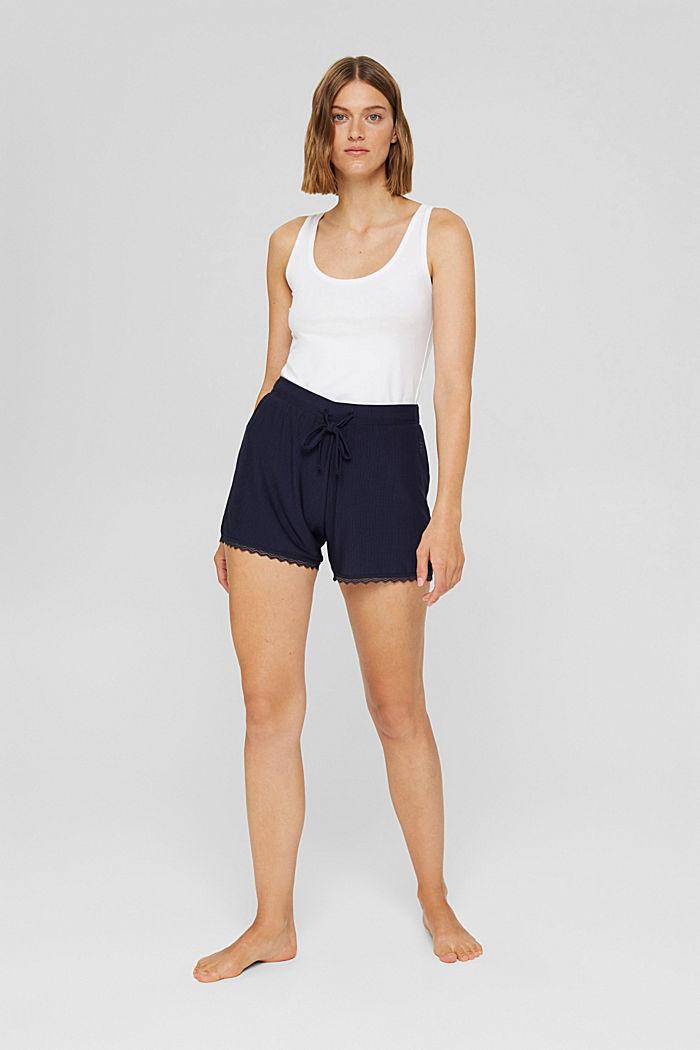 Shorts da pigiama con pizzo, LENZING™ ECOVERO™, NAVY, detail image number 1