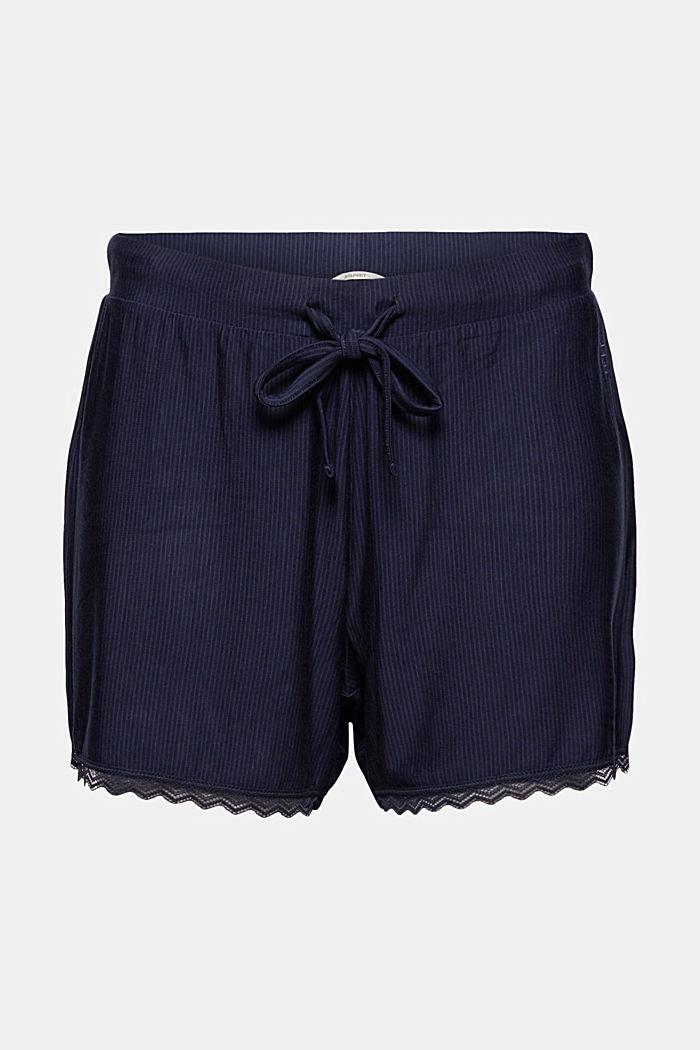 Pitsisomisteiset pyjamashortsit, LENZING™ ECOVERO™, NAVY, detail image number 7