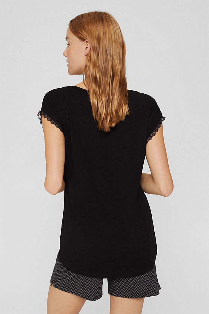 Pyjama-Shirt mit Spitze, LENZING™ ECOVERO™, BLACK, detail image number 2