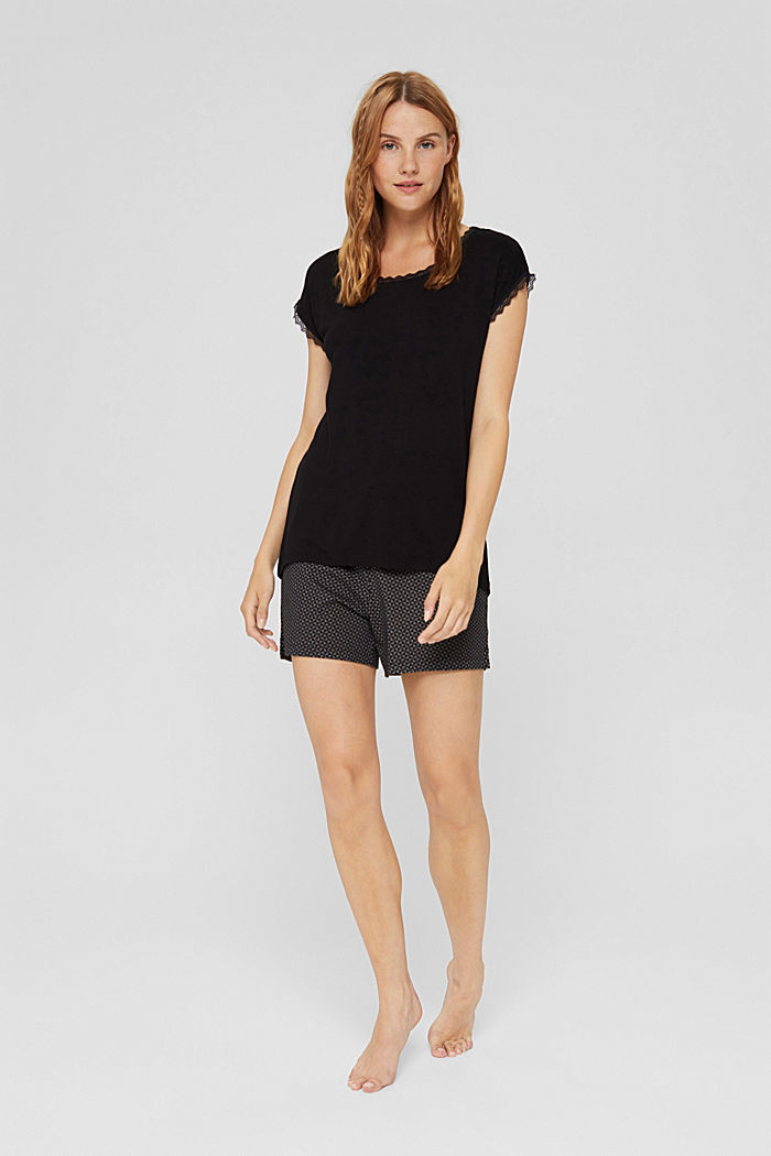 Pyjama-Shirt mit Spitze, LENZING™ ECOVERO™, BLACK, detail image number 0