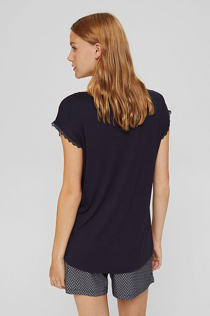 Pyjama top with lace, LENZING™ ECOVERO™, NAVY, detail image number 2