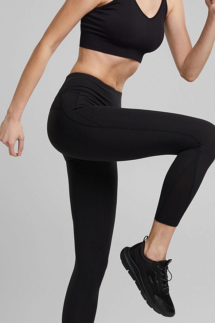 Recycelt: Active-Leggings mit E-Dry, BLACK, detail image number 2