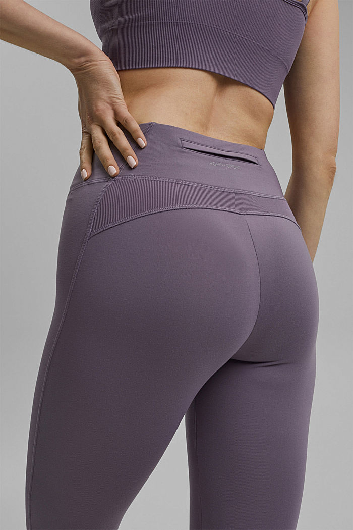 Recycled: high-performance leggings with an E-DRY finish, MAUVE, detail image number 2