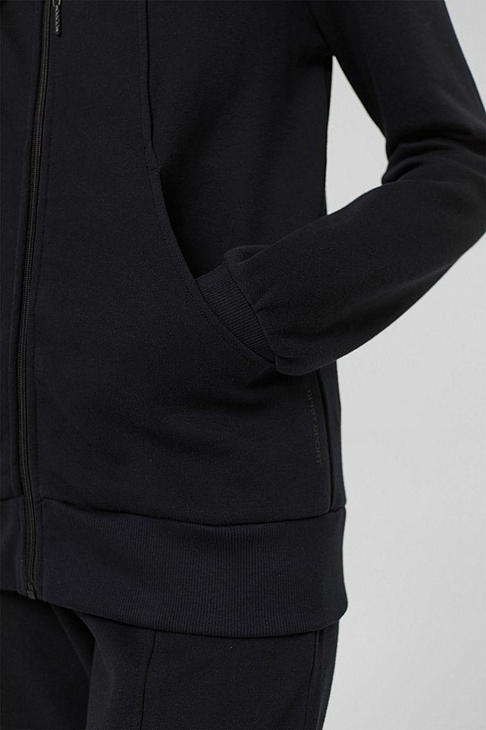 Sweat-Cardigan aus Bio-Baumwoll-Mix, BLACK, detail image number 2