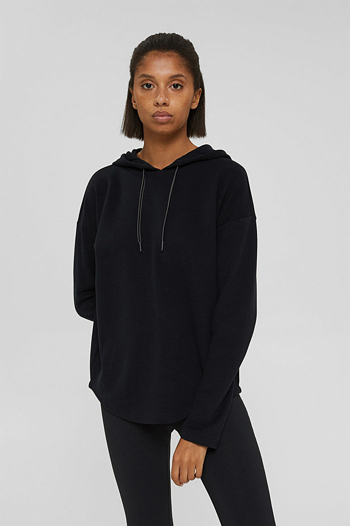 Sweatshirt hoodie with a soft texture, organic cotton blend, BLACK, detail image number 0