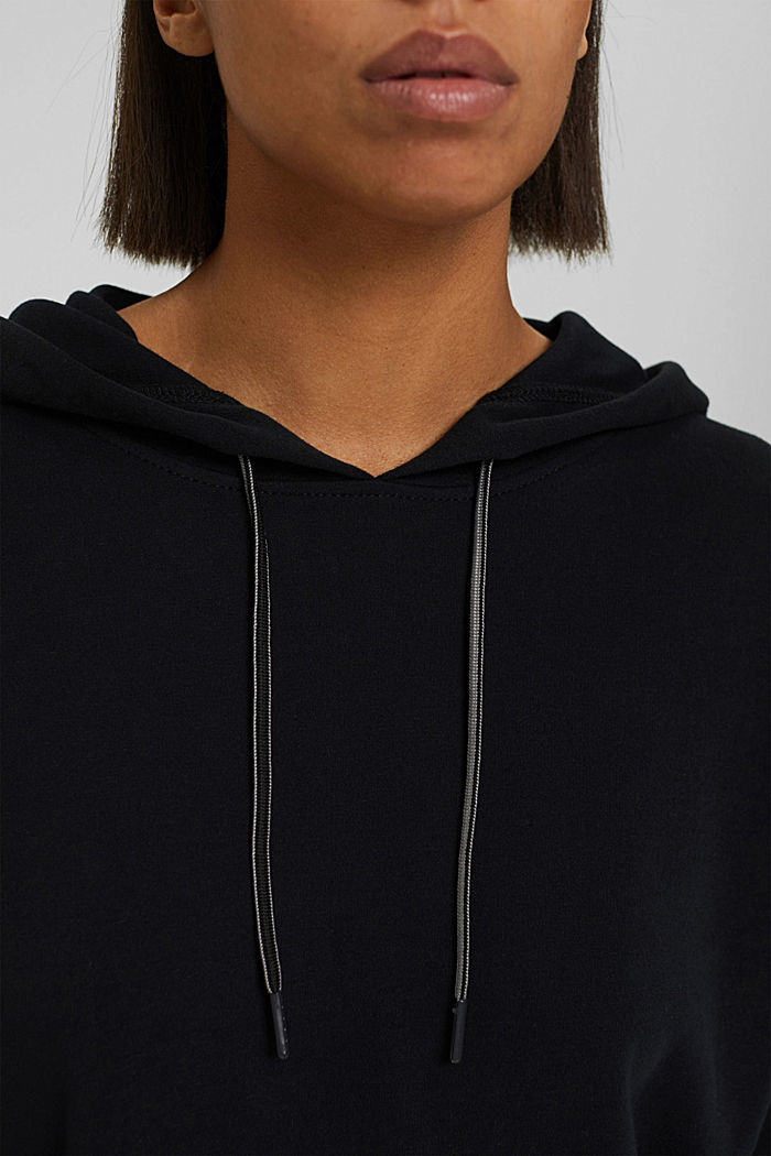 Sweatshirt hoodie with a soft texture, organic cotton blend, BLACK, detail image number 2
