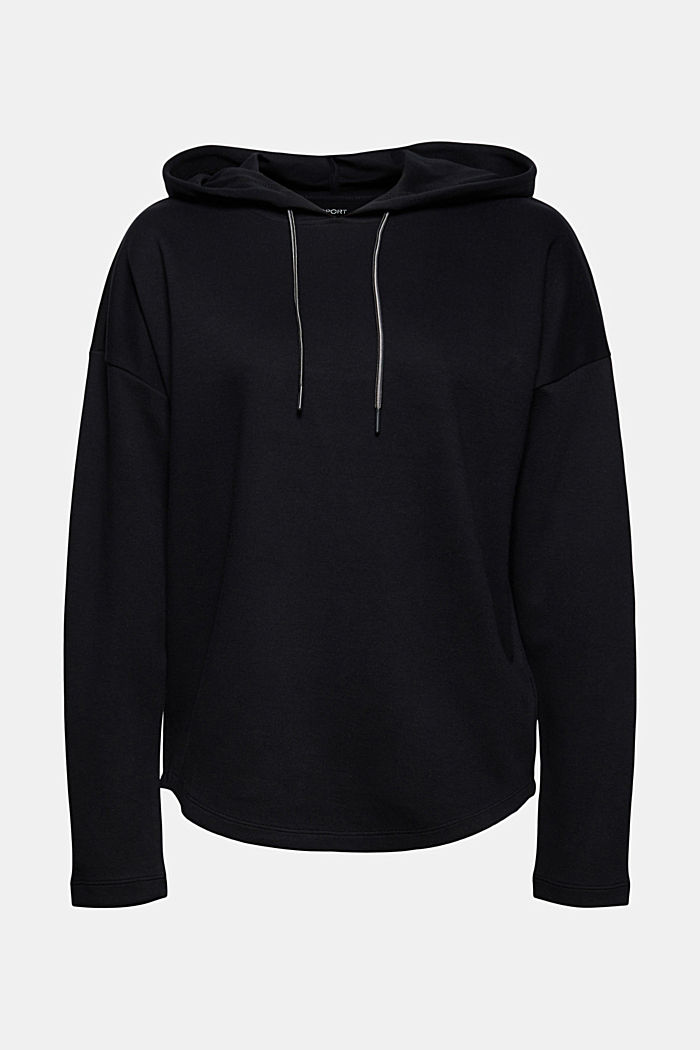 Sweatshirt hoodie with a soft texture, organic cotton blend, BLACK, detail image number 6