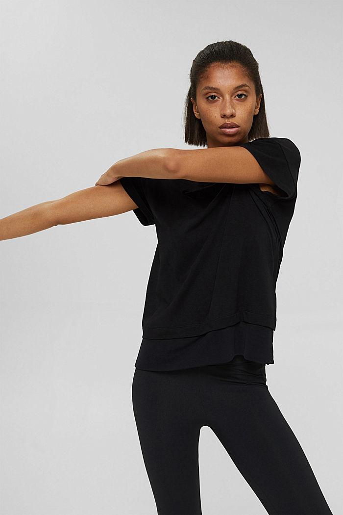 T-shirt squadrata con mesh, cotone biologico, BLACK, detail image number 0