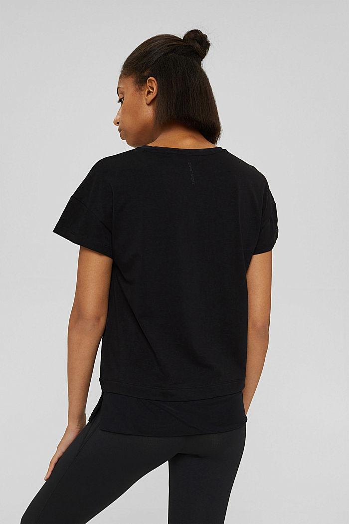 T-shirt squadrata con mesh, cotone biologico, BLACK, detail image number 3
