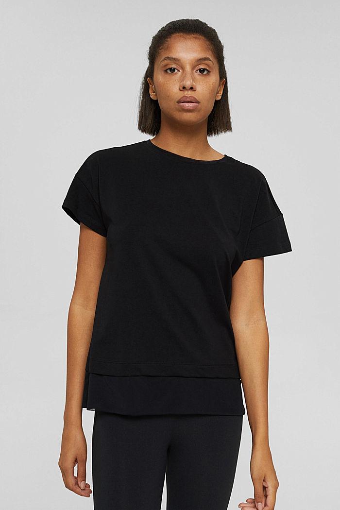 T-shirt squadrata con mesh, cotone biologico, BLACK, detail image number 6