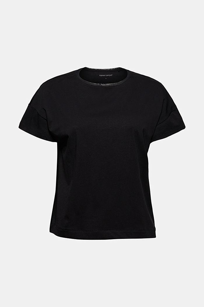 Boxy T-shirt met mesh, biologisch katoen