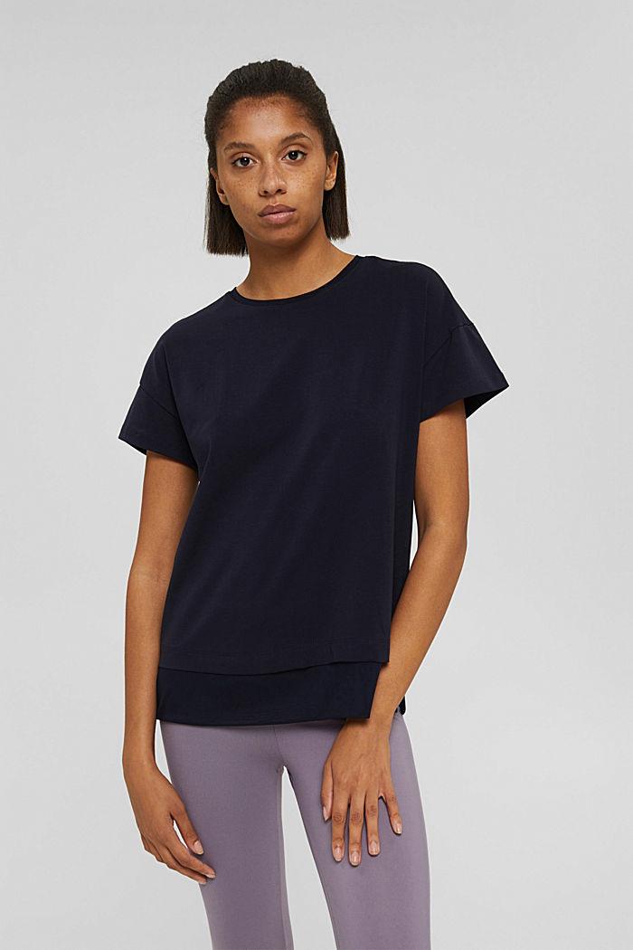Boxy T-shirt met mesh, biologisch katoen, NAVY, detail image number 0