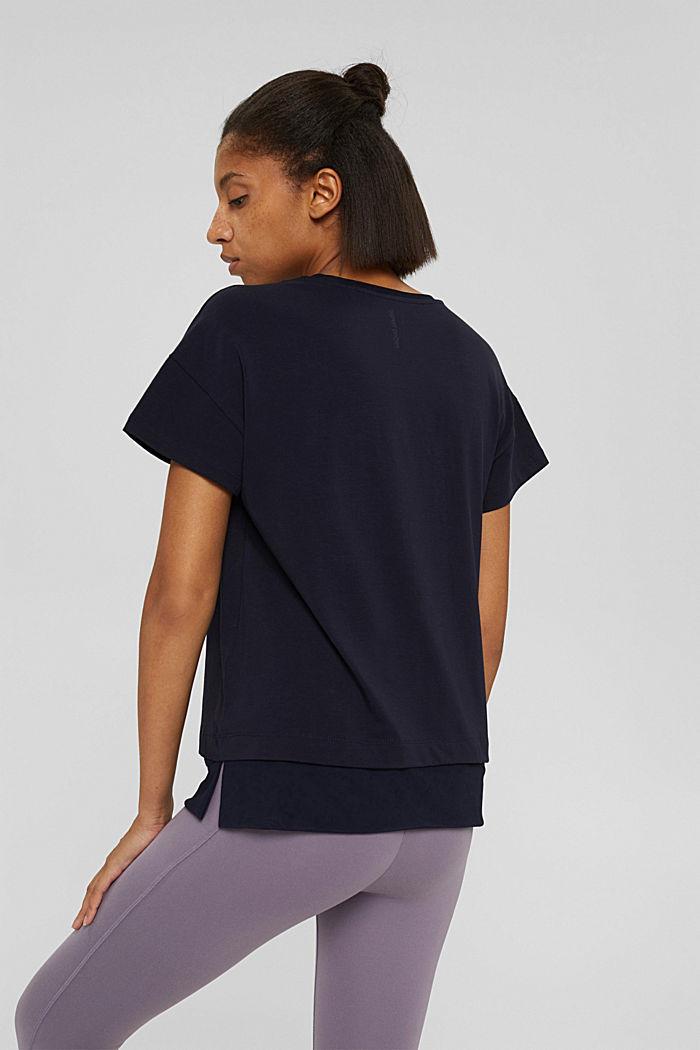 Boxy T-shirt met mesh, biologisch katoen, NAVY, detail image number 3
