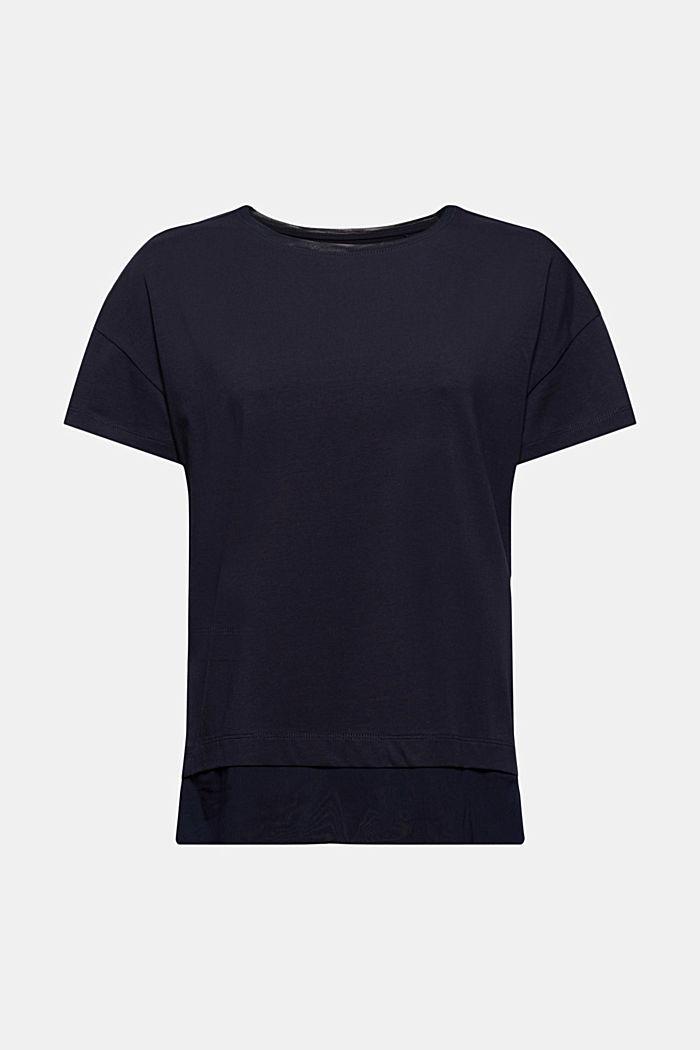 T-shirt orné de mesh de coupe carrée, coton biologique