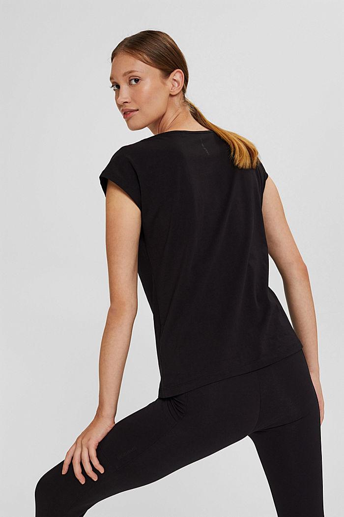 T-shirt de sport à empiècement en mesh, coton biologique, BLACK, detail image number 3