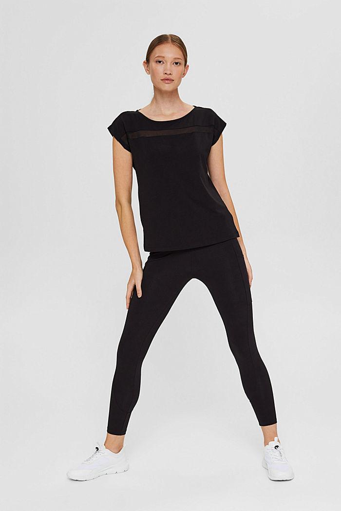 T-shirt de sport à empiècement en mesh, coton biologique, BLACK, detail image number 1