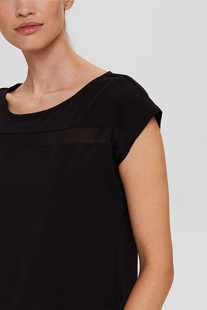 T-shirt de sport à empiècement en mesh, coton biologique, BLACK, detail image number 2