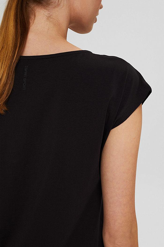 T-shirt de sport à empiècement en mesh, coton biologique, BLACK, detail image number 5