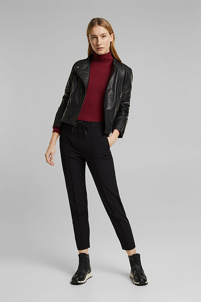 Two-way stretch trousers in a tracksuit style, BLACK, detail image number 1