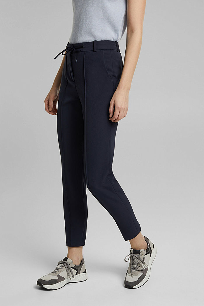Two-way stretch trousers in a tracksuit style, NAVY, detail image number 0