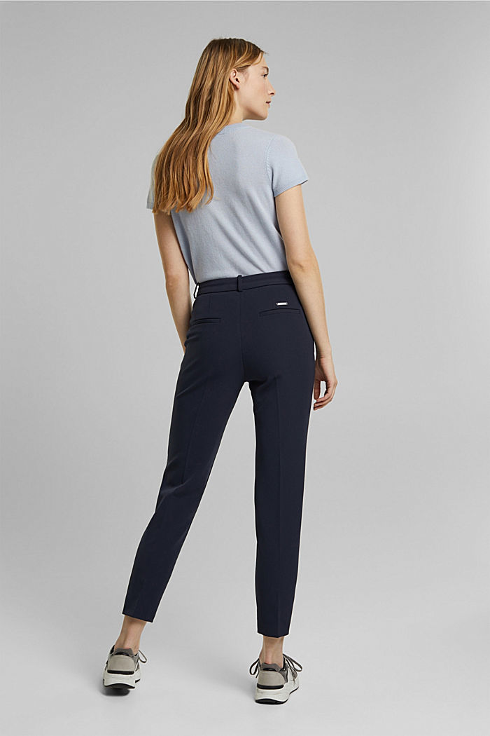 Two-way stretch trousers in a tracksuit style, NAVY, detail image number 3