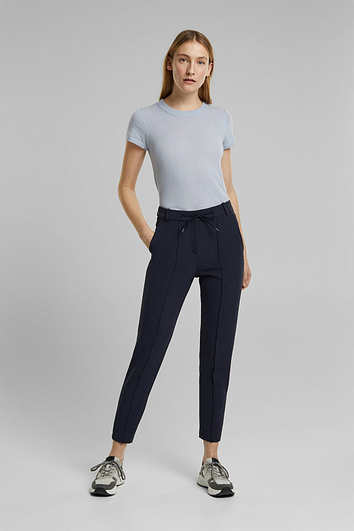 Two-way stretch trousers in a tracksuit style, NAVY, detail image number 6