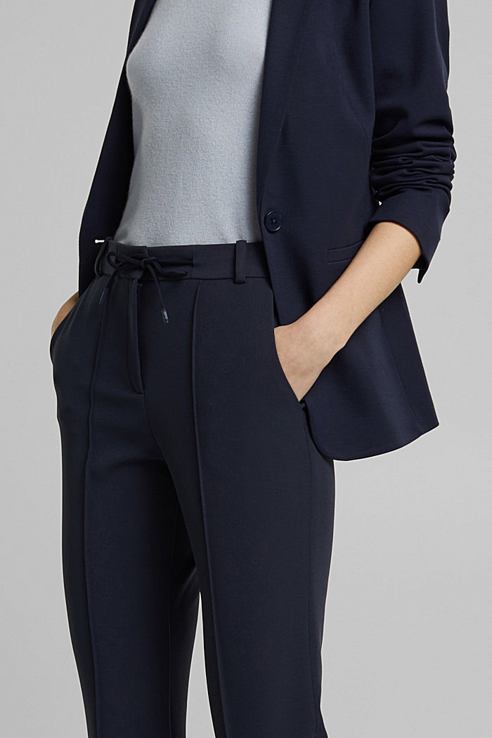 Two-way stretch trousers in a tracksuit style, NAVY, detail image number 2