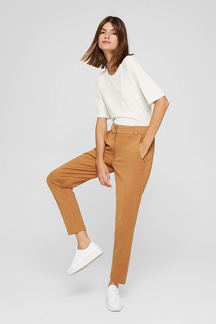 SOFT PUNTO Mix + Match stretch trousers, CARAMEL, detail image number 4