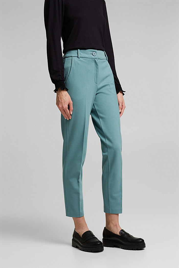 SOFT PUNTO Mix + Match stretch trousers, DARK TURQUOISE, detail image number 0