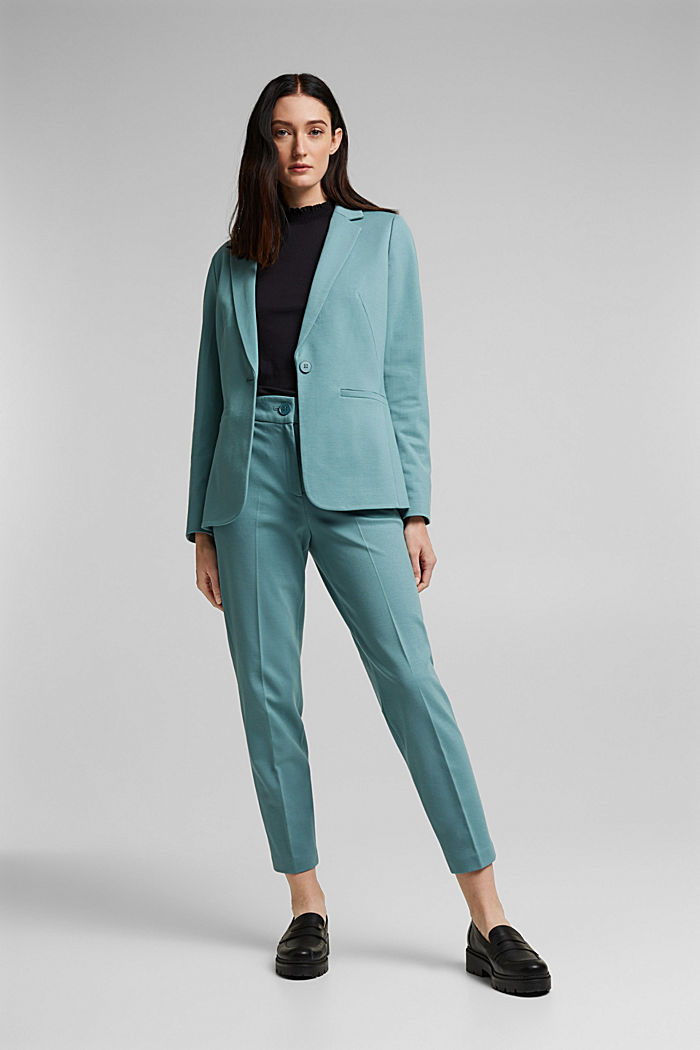 SOFT PUNTO Mix + Match stretch trousers, DARK TURQUOISE, detail image number 1