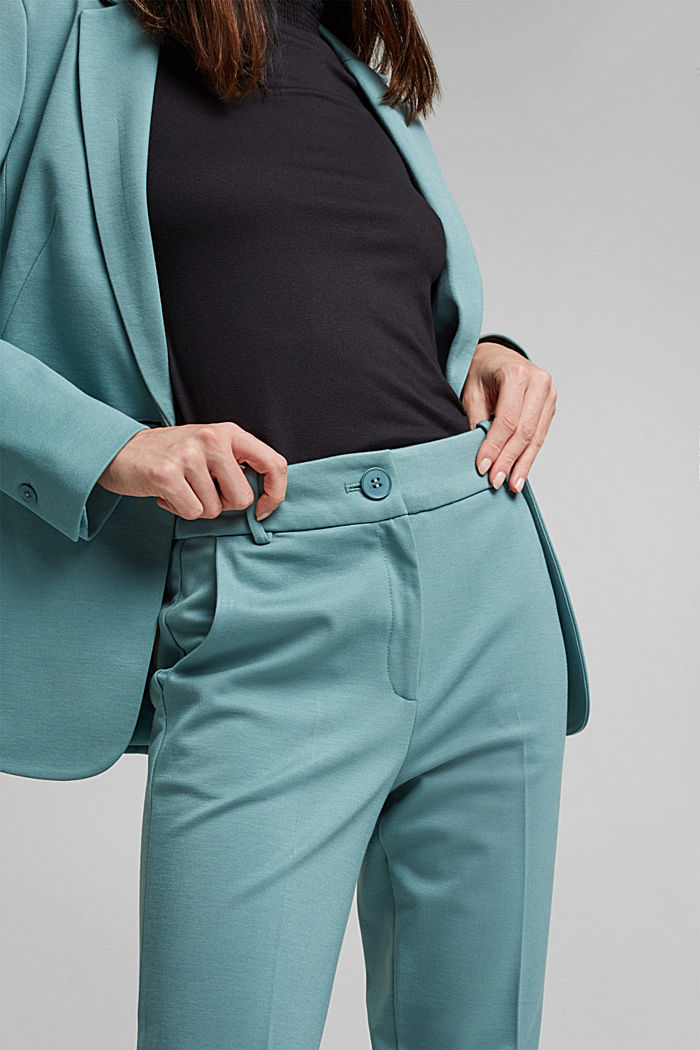 SOFT PUNTO Mix + Match stretch trousers, DARK TURQUOISE, detail image number 2