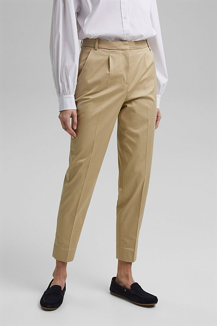 Business-Chino aus Baumwollstretch, SAND, overview