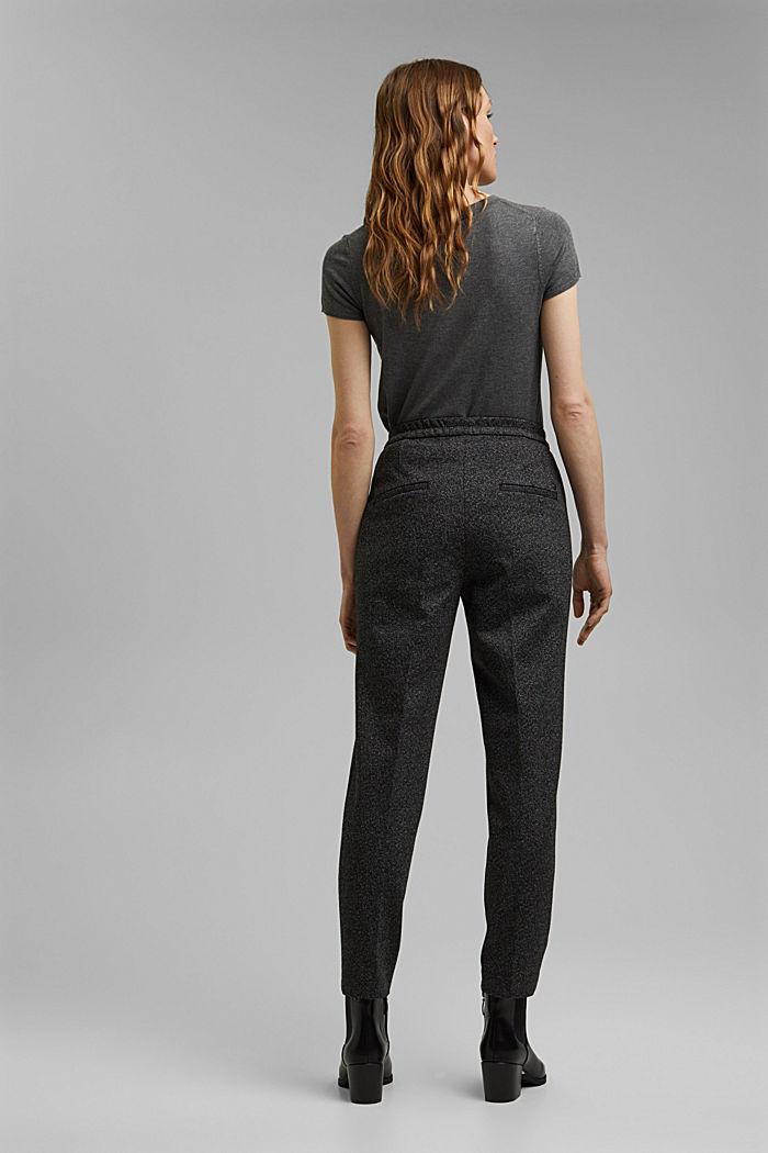 HERRINGBONE - Pantalón elástico Mix + Match, BLACK, detail image number 3