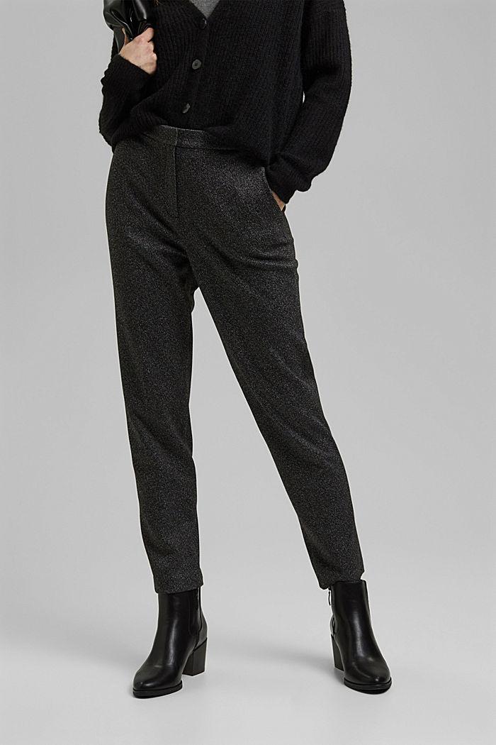 HERRINGBONE - Pantalón elástico Mix + Match, BLACK, detail image number 6