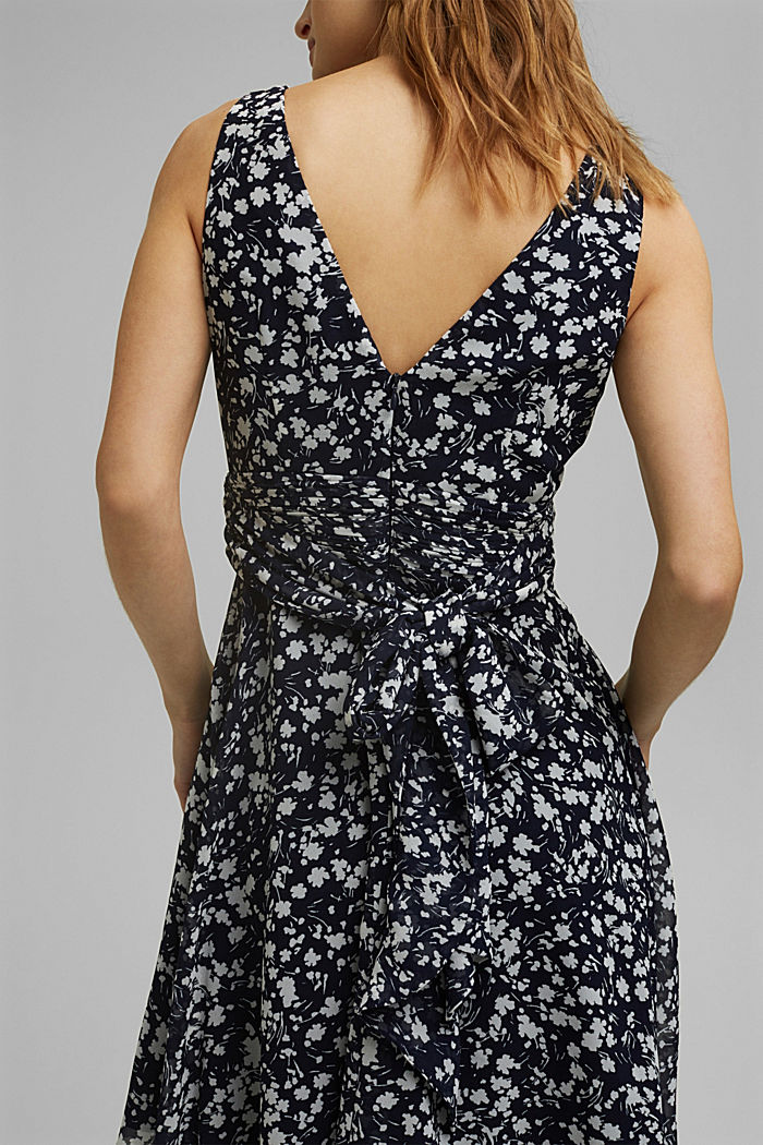 Recycled: Chiffon dress with a gathered waist, NAVY, detail image number 3