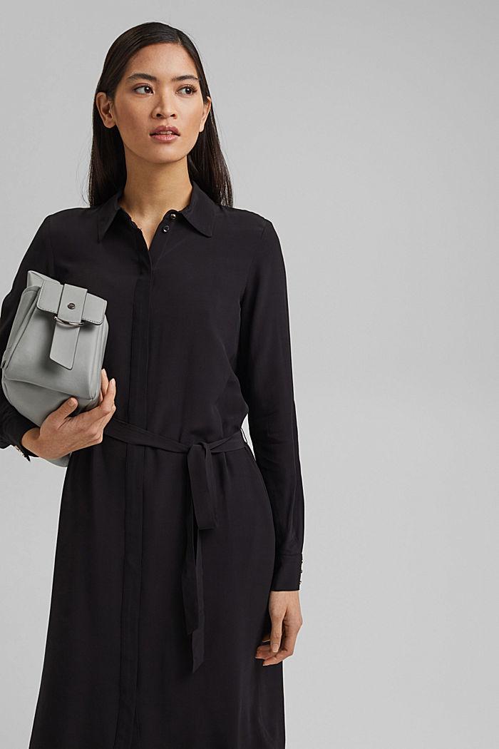 Shirt dress with LENZING™ ECOVERO™, BLACK, detail image number 0