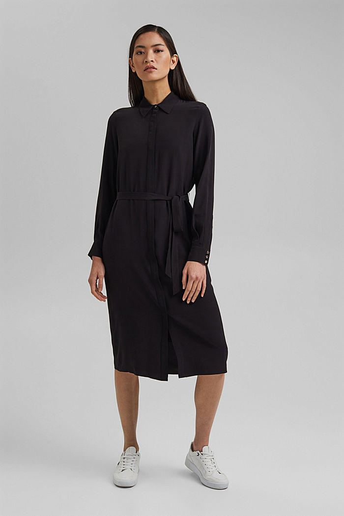 Shirt dress with LENZING™ ECOVERO™, BLACK, detail image number 1