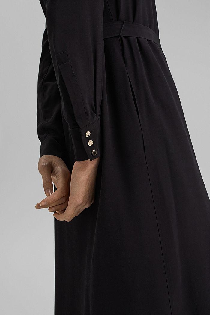 Shirt dress with LENZING™ ECOVERO™, BLACK, detail image number 3