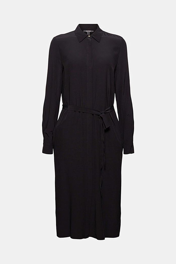 Shirt dress with LENZING™ ECOVERO™, BLACK, detail image number 6
