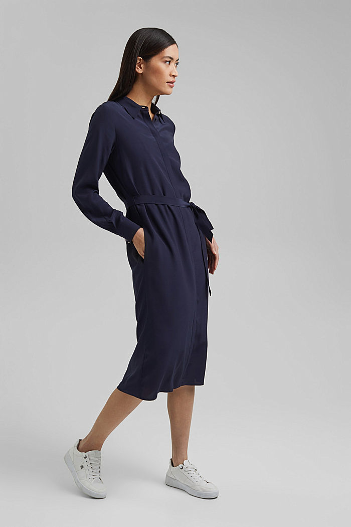 Shirt dress with LENZING™ ECOVERO™, NAVY, detail image number 1