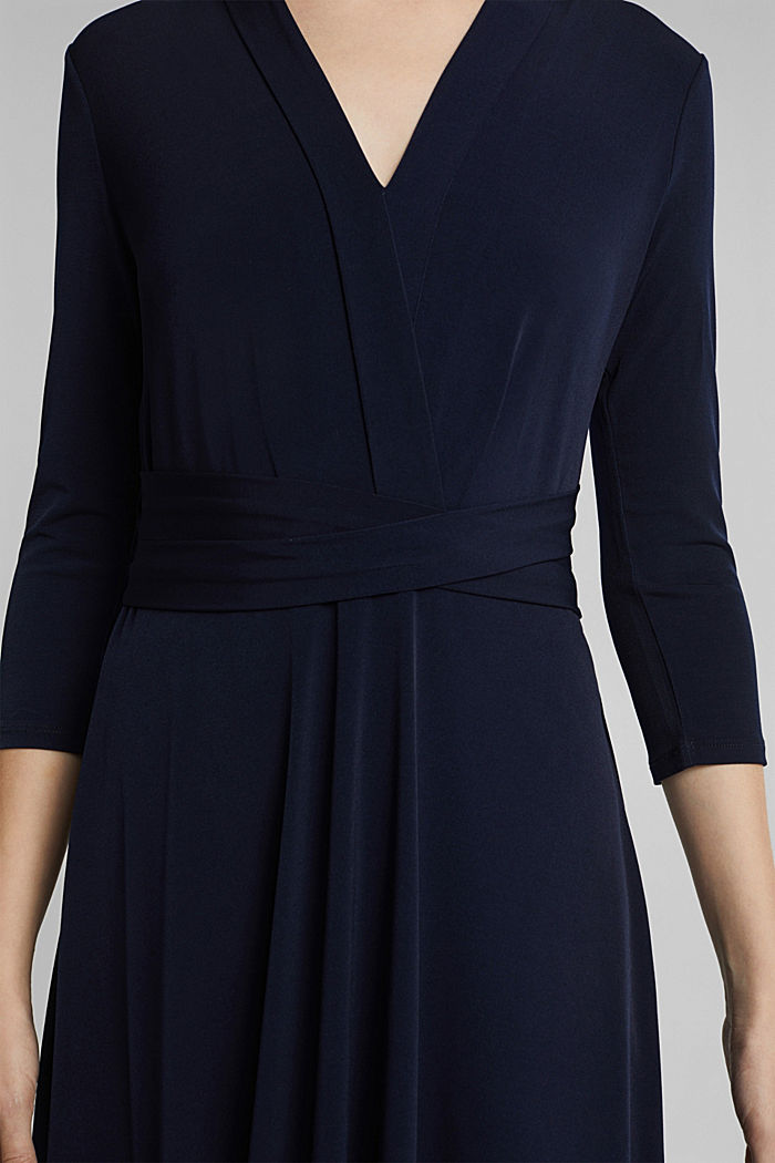 Recycled: jersey dress with a belt, NAVY, detail image number 3