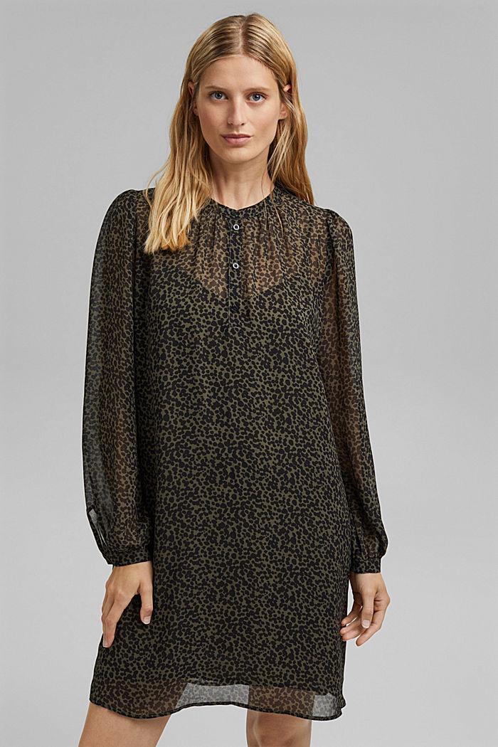 Gerecycled: chiffon jurk met print, KHAKI GREEN, detail image number 0